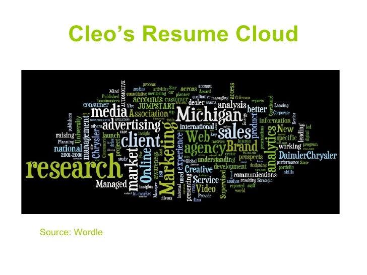 Cleo's Resume Cloud     Source: Wordle