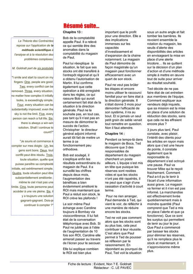 Fiche de lecture : Evident, Non ? E. Goldratt  Rédacteur : C. LE PAVEC  7  Chapitre 13 :  Bob de la comptabilité appelle P...