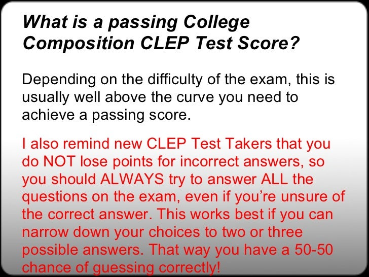 english clep test with essay