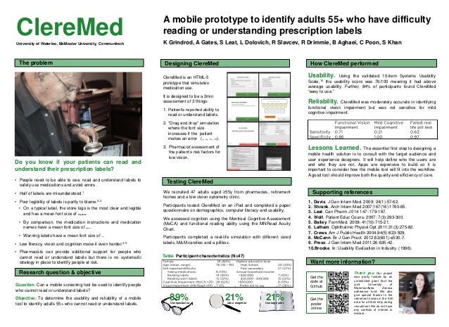 21%Use a magnifier A mobile prototype to identify adults 55+ who have difficulty reading or understanding prescription lab...