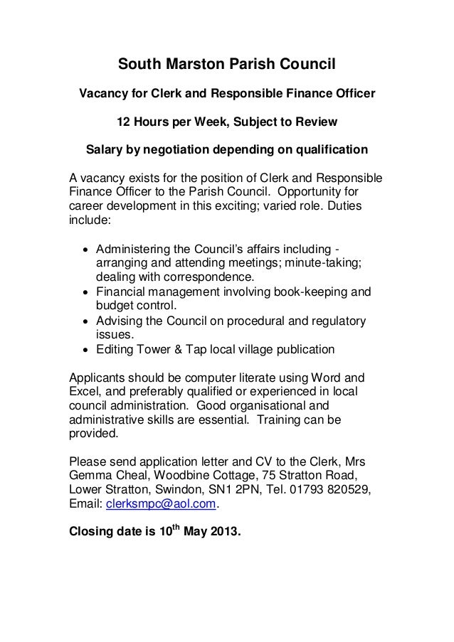 South Marston Parish Council Vacancy for Clerk and Responsible Finance Officer        12 Hours per Week, Subject to Review...