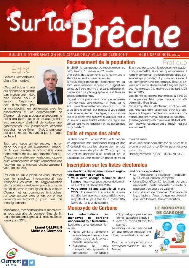 Sur la  BULLETIN D'INFORMATION MUNICIPALE DE LA VILLE DE CLERMONT HORS-SERIE NOËL 2014  Chères Clermontoises,  chers Clerm...