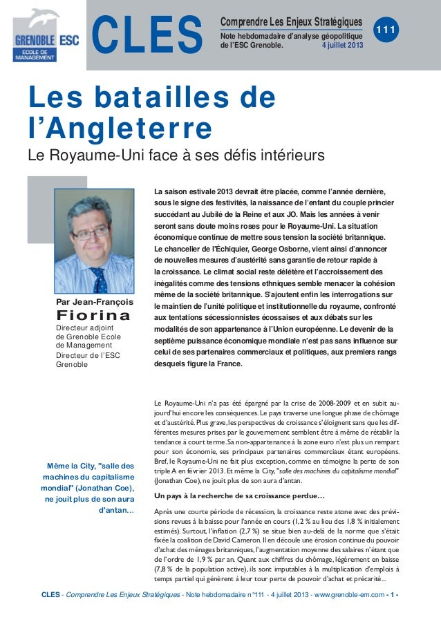 CLES Comprendre Les Enjeux Stratégiques Note hebdomadaire d'analyse géopolitique de l'ESC Grenoble. 4 juillet 2013 111 La ...