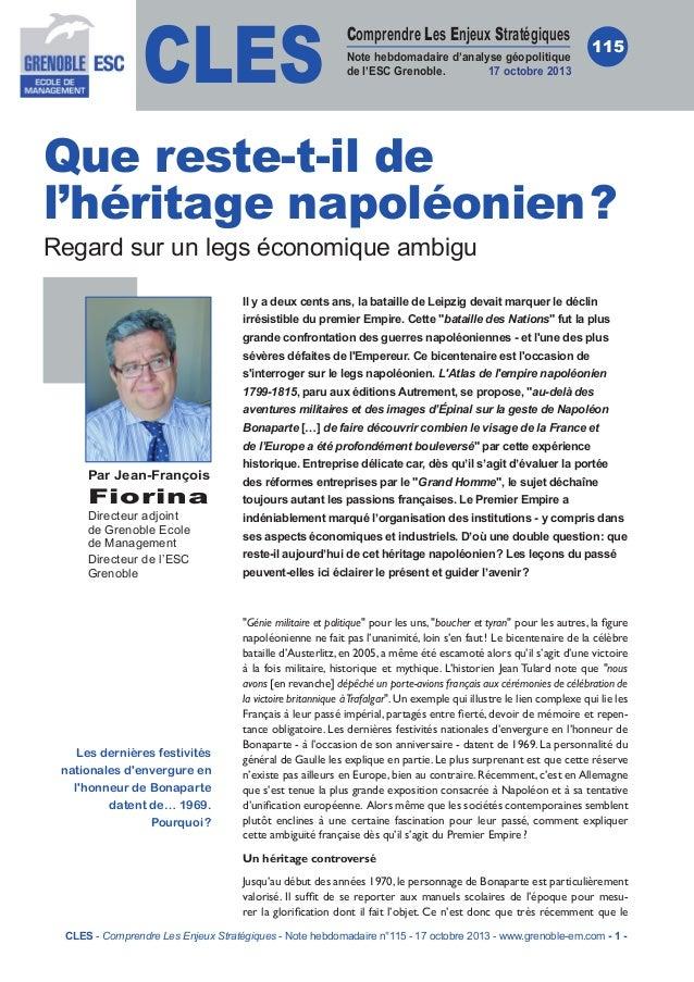 CLES  Comprendre Les Enjeux Stratégiques Note hebdomadaire d'analyse géopolitique de l'ESC Grenoble. 17 octobre 2013  115 ...