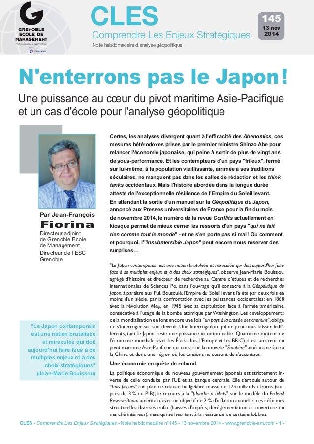 CLES  Comprendre Les Enjeux Stratégiques  Note hebdomadaire d'analyse géopolitique  145  13 nov  2014  N'enterrons pas le ...