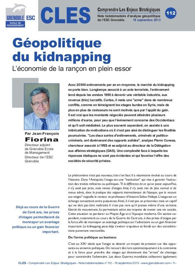 CLES Comprendre Les Enjeux Stratégiques Note hebdomadaire d'analyse géopolitique de l'ESC Grenoble. 19septembre 2013 112 ...