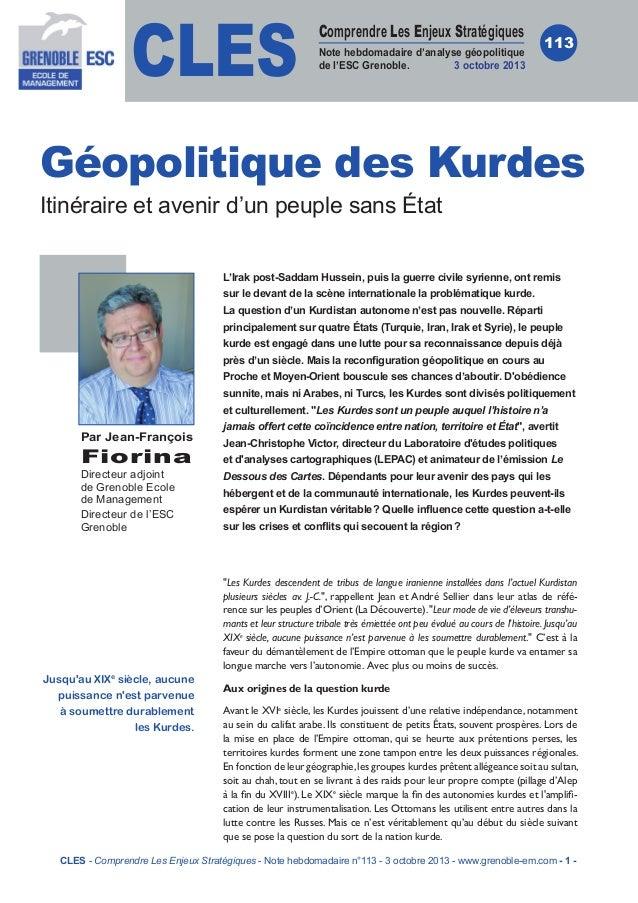 CLES  Comprendre Les Enjeux Stratégiques Note hebdomadaire d'analyse géopolitique de l'ESC Grenoble. 3 octobre 2013  113  ...