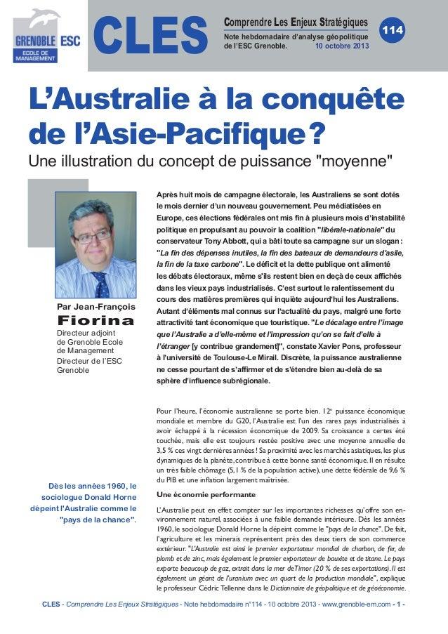CLES  Comprendre Les Enjeux Stratégiques Note hebdomadaire d'analyse géopolitique de l'ESC Grenoble. 10 octobre 2013  114 ...