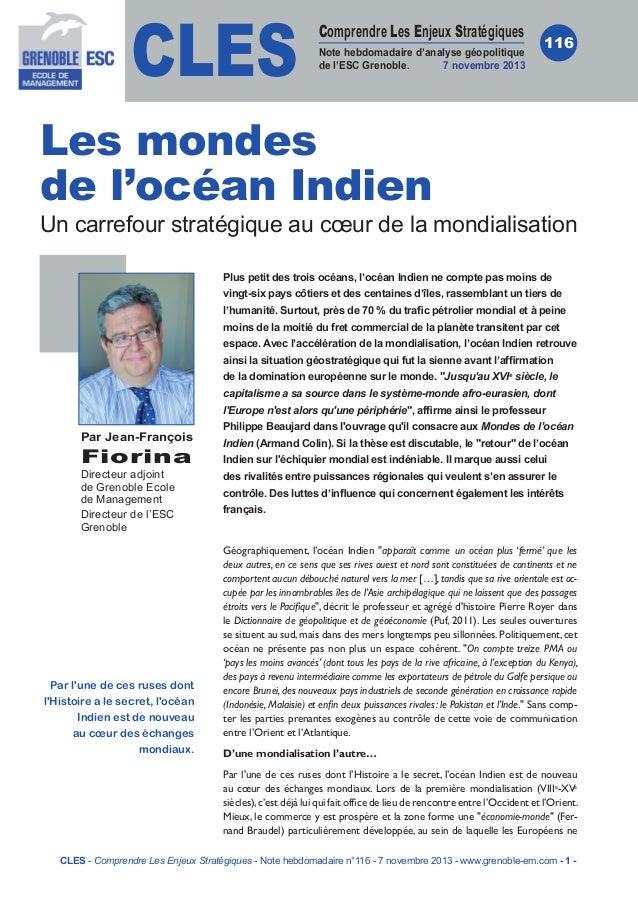 CLES  Comprendre Les Enjeux Stratégiques Note hebdomadaire d'analyse géopolitique de l'ESC Grenoble. 7novembre 2013  116 ...