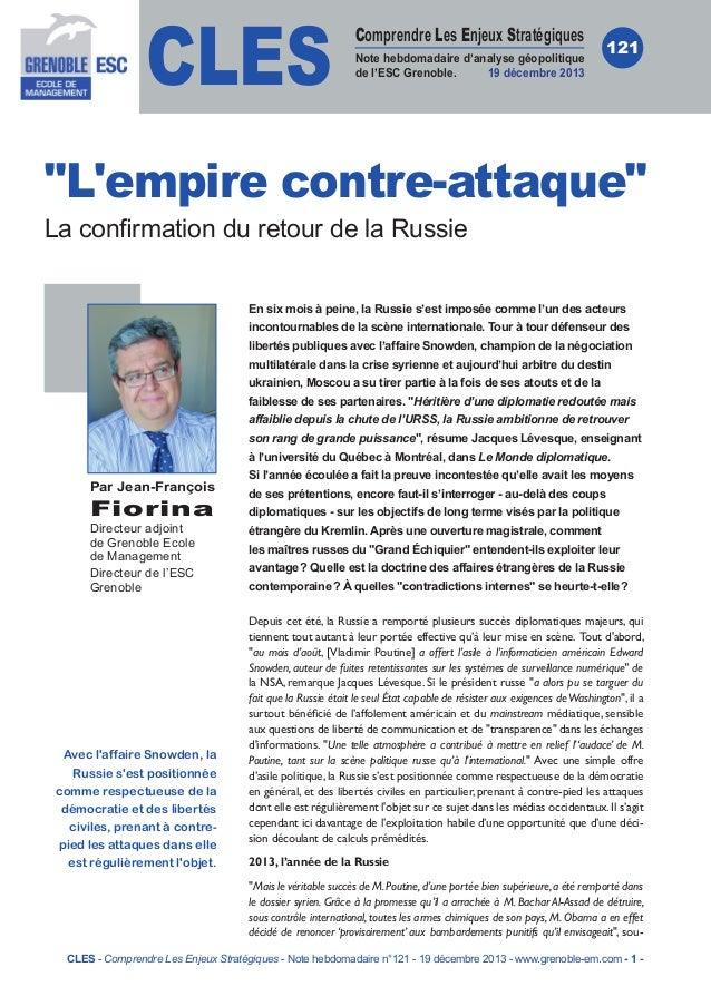 CLES  Comprendre Les Enjeux Stratégiques Note hebdomadaire d'analyse géopolitique de l'ESC Grenoble. 19 décembre 2013  121...