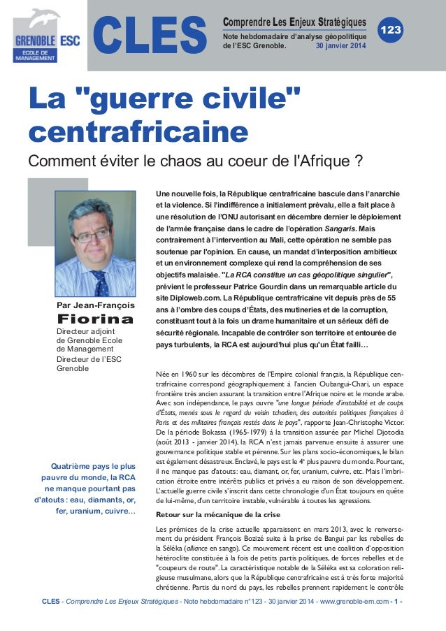 CLES  Comprendre Les Enjeux Stratégiques Note hebdomadaire d'analyse géopolitique de l'ESC Grenoble. 30 janvier 2014  123 ...