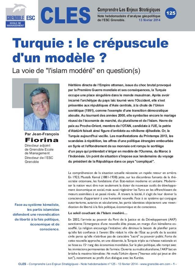 CLES  Comprendre Les Enjeux Stratégiques Note hebdomadaire d'analyse géopolitique de l'ESC Grenoble. 13 février 2014  125 ...