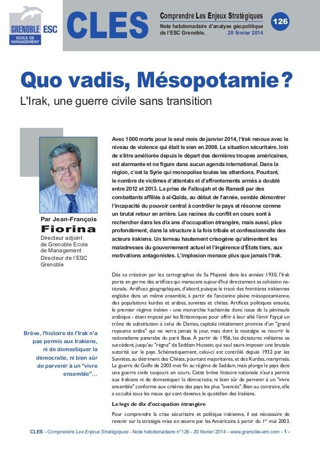 CLES  Comprendre Les Enjeux Stratégiques Note hebdomadaire d'analyse géopolitique de l'ESC Grenoble. 20 février 2014  126 ...