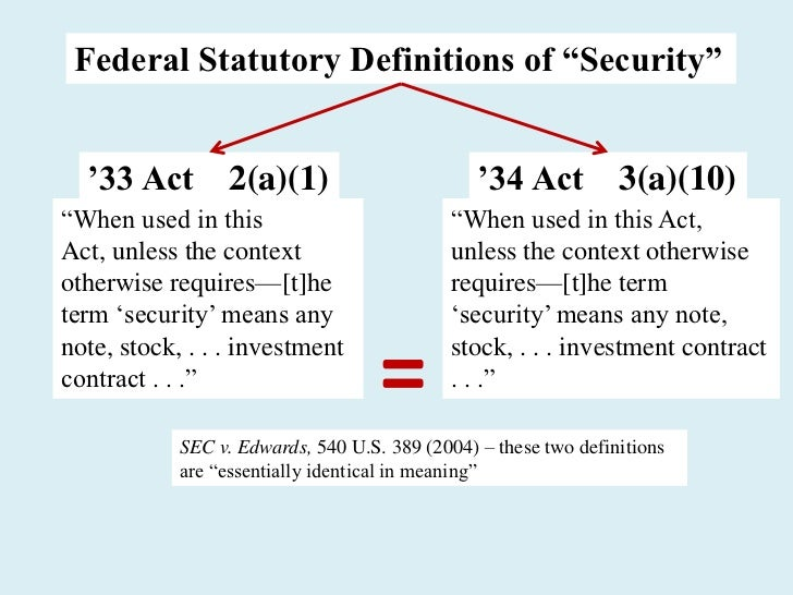 """Federal Statutory Definitions of """"Security""""  '33 Act 2(a)(1)                               '34 Act 3(a)(10)―When used in t..."""