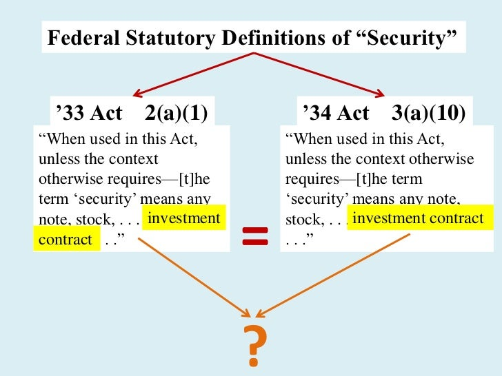 """Federal Statutory Definitions of """"Security""""  '33 Act 2(a)(1)                      '34 Act 3(a)(10)―When used in this Act, ..."""