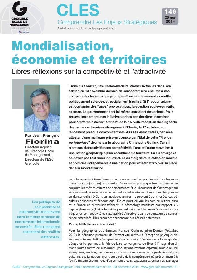 CLES  Comprendre Les Enjeux Stratégiques  Note hebdomadaire d'analyse géopolitique  146  20 nov  2014  Mondialisation,  éc...