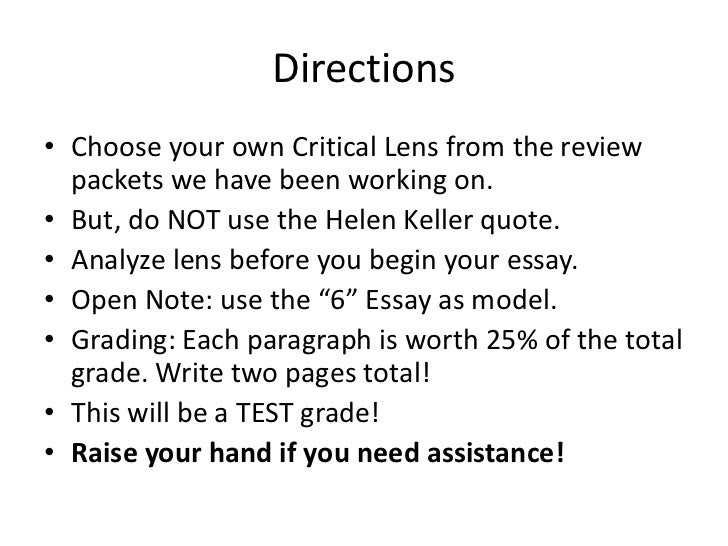 essay directions example