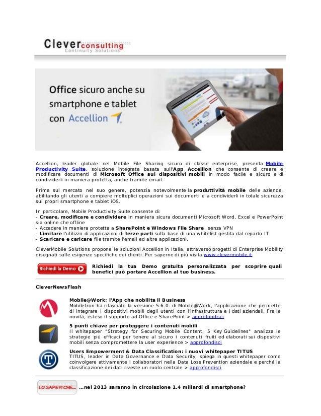 Accellion, leader globale nel Mobile File Sharing sicuro di classe enterprise, presenta MobileProductivity Suite, soluzion...