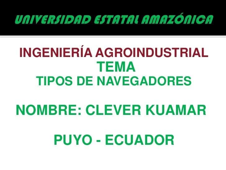 INGENIERÍA AGROINDUSTRIAL          TEMA  TIPOS DE NAVEGADORESNOMBRE: CLEVER KUAMAR    PUYO - ECUADOR