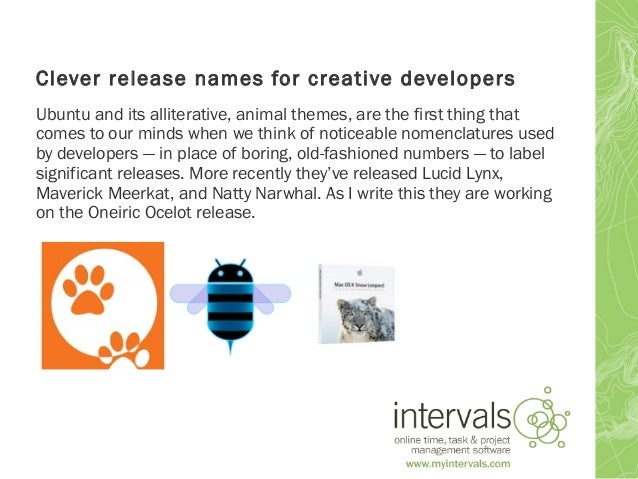 clever release names for creative developers
