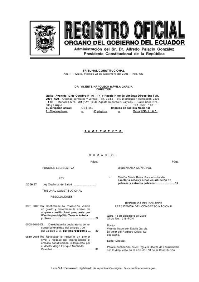 Lexis S.A.: Documento digitalizado de la publicación original. Favor verificar con imagen. TRIBUNAL CONSTITUCIONAL Año II ...