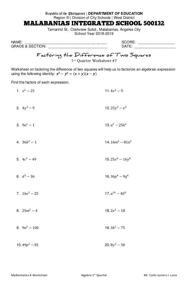 Mathematics 8 Worksheet Algebra 1st Quarter Mr. Carlo Justino J. Luna Republic of the Philippines | DEPARTMENT OF EDUCATIO...