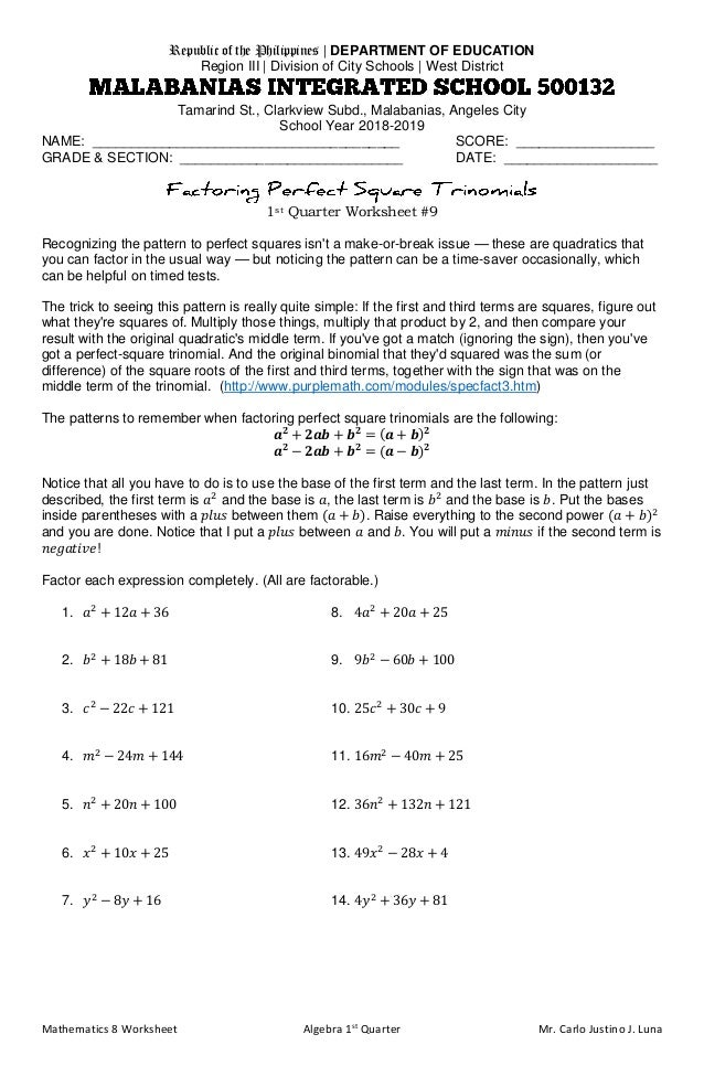 Mathematics 8 Worksheet Algebra 1st Quarter Mr. Carlo Justino J. Luna Republic of the Philippines | DEPARTMENT OF EDUCATIO...