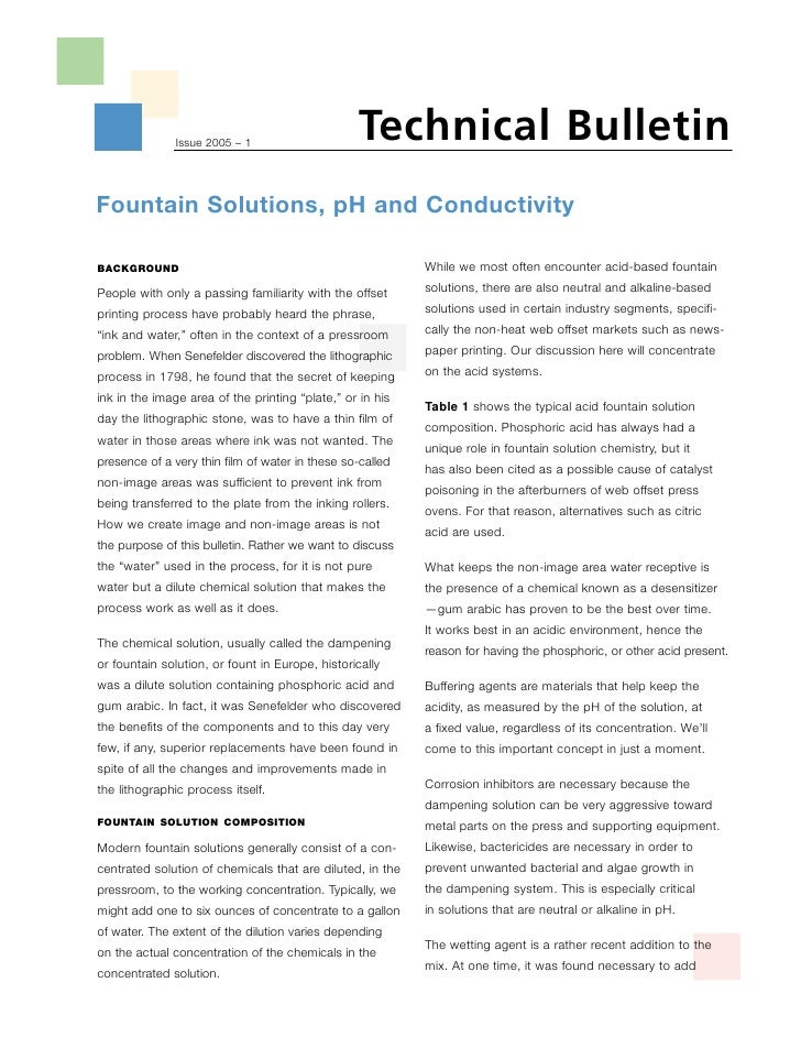Technical Bulletin                Issue 2005 – 1     Fountain Solutions, pH and Conductivity                              ...