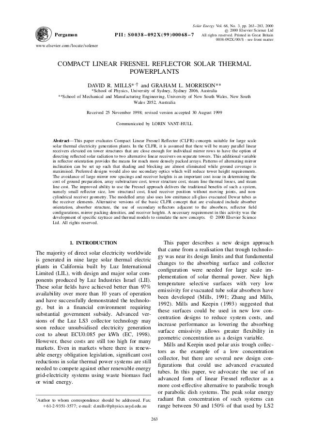 Pergamon  PII:  Solar Energy Vol. 68, No. 3, pp. 263–283, 2000 © 2000 Elsevier Science Ltd S 0 0 3 8 – 0 9 2 X ( 9 9 ) 0 0...