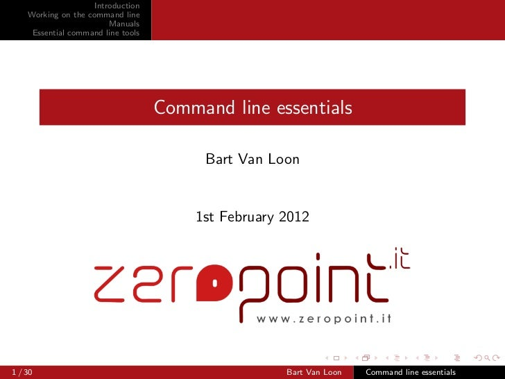 Introduction    Working on the command line                         Manuals     Essential command line tools              ...