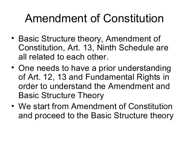 Amendment of Indian Constitution and Basic Structure ...