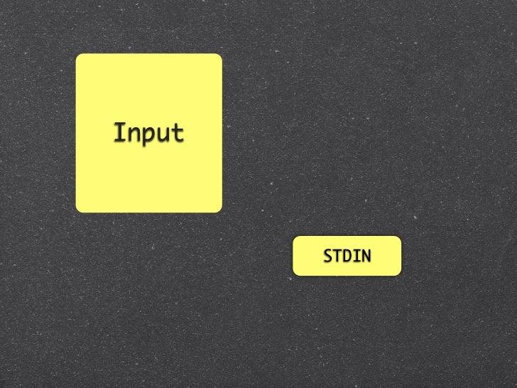 Input        ARGV/ENV          STDIN