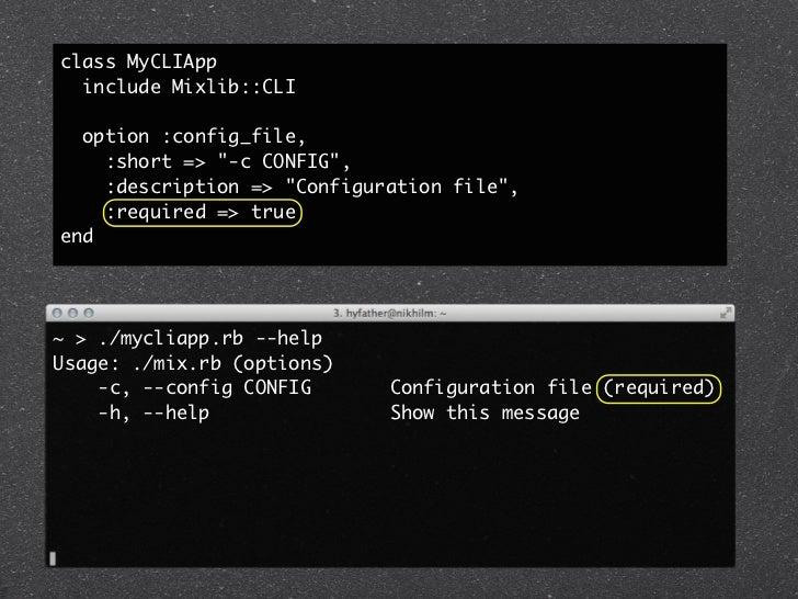 """config.rbserver_url """"http://server.remote""""username   """"elvis""""password   """"hotdog""""class MyConfig  extend(Mixlib::Config)  ser..."""