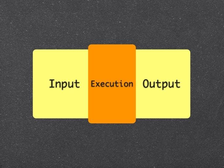 Input   Execution   OutputTest::Unit, rspec etc.