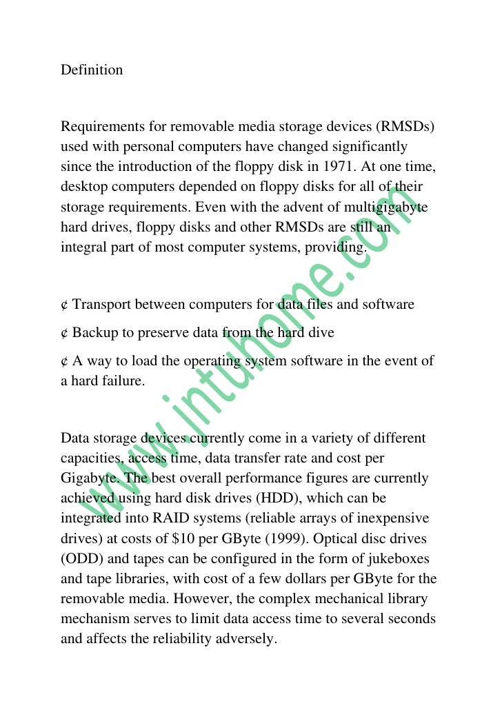 Definition<br />Requirements for removable media storage devices (RMSDs) used with personal computers have changed signifi...