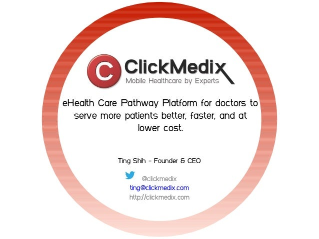 eHealth Care Pathway Platform for doctors to serve more patients better, faster, and at lower cost. Ting Shih - Founder & ...