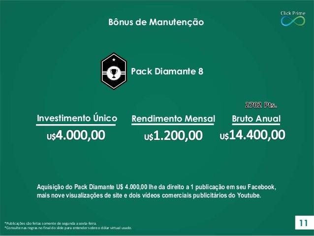 Aquisição do Pack Diamante U$ 4.000,00 lhe da direito a 1 publicação em seu Facebook, mais nove visualizações de site e do...