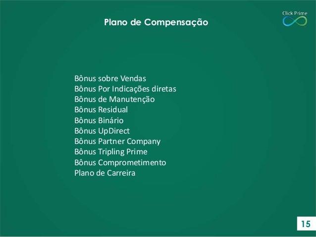 Bônus sobre Vendas Bônus Por Indicações diretas Bônus de Manutenção Bônus Residual Bônus Binário Bônus UpDirect Bônus Part...