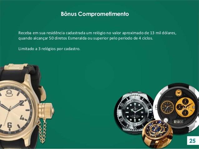 Receba em sua residência cadastrada um relógio no valor aproximado de 13 mil dólares, quando alcançar 50 diretos Esmeralda...