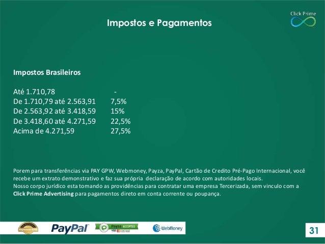 Impostos Brasileiros Até 1.710,78 - De 1.710,79 até 2.563,91 7,5% De 2.563,92 até 3.418,59 15% De 3.418,60 até 4.271,59 22...