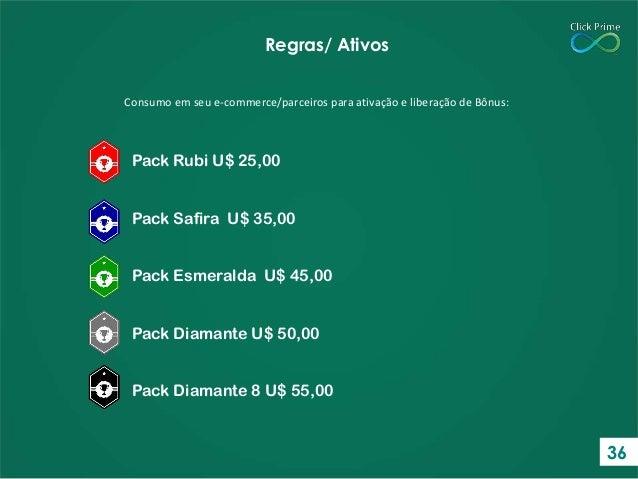 Consumo em seu e-commerce/parceiros para ativação e liberação de Bônus: Regras/ Ativos Pack Rubi U$ 25,00 Pack Safira U$ 3...