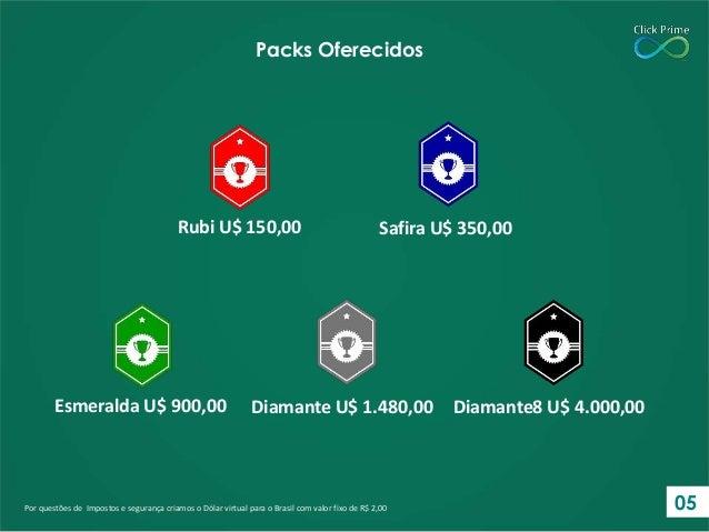 Por questões de Impostos e segurança criamos o Dólar virtual para o Brasil com valor fixo de R$ 2,00 Packs Oferecidos Rubi...
