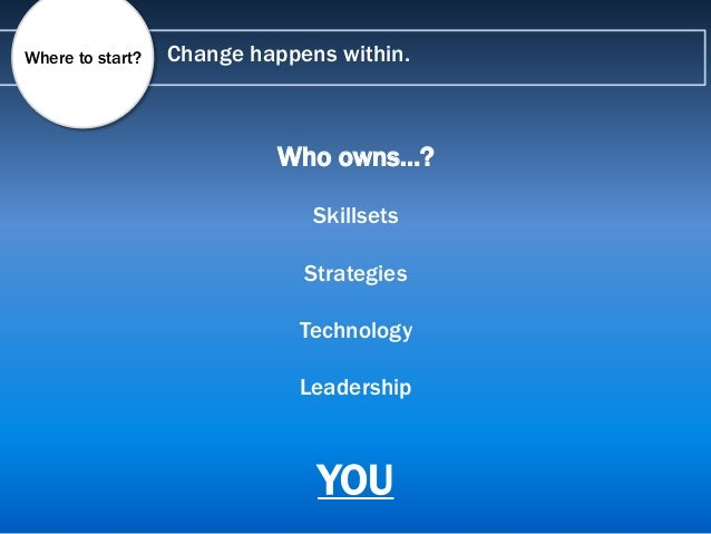 Change happens within.Where to start? Who owns…? Skillsets Strategies Technology Leadership YOU