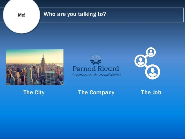 Who are you talking to?Me! The City The Company The Job