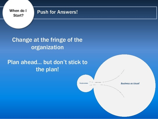 Push for Answers!When do I Start? Change at the fringe of the organization Plan ahead… but don't stick to the plan!