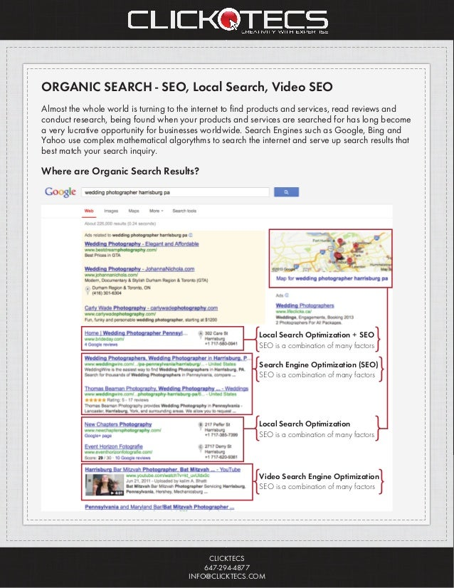 CLICKTECS 647-294-4877 INFO@CLICKTECS.COM ORGANIC SEARCH - SEO, Local Search, Video SEO Almost the whole world is turning ...