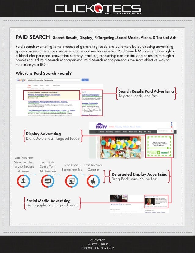 PAID SEARCH - Search Results, Display, ReTargeting, Social Media, Video, & Textual Ads Paid Search Marketing is the proces...