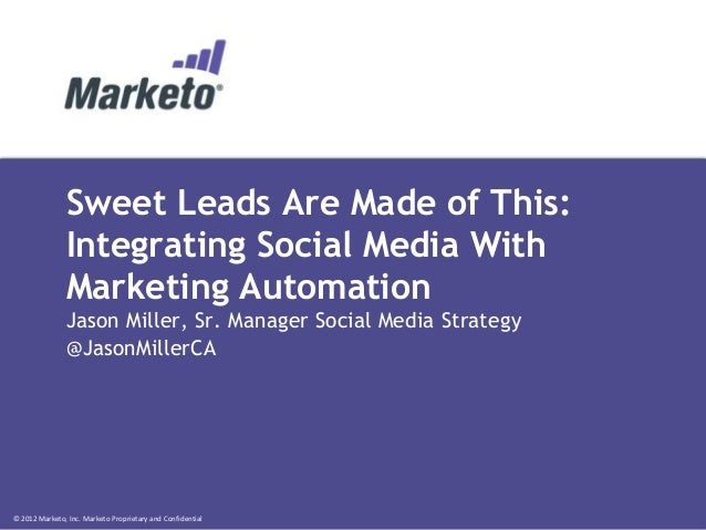 © 2012 Marketo, Inc. Marketo Proprietary and Confidential Sweet Leads Are Made of This: Integrating Social Media With Mark...