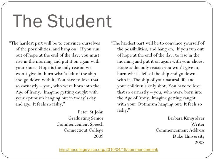 """The Student <ul><li>"""" The hardest part will be to convince ourselves of the possibilities, and hang on.  If you run out of..."""