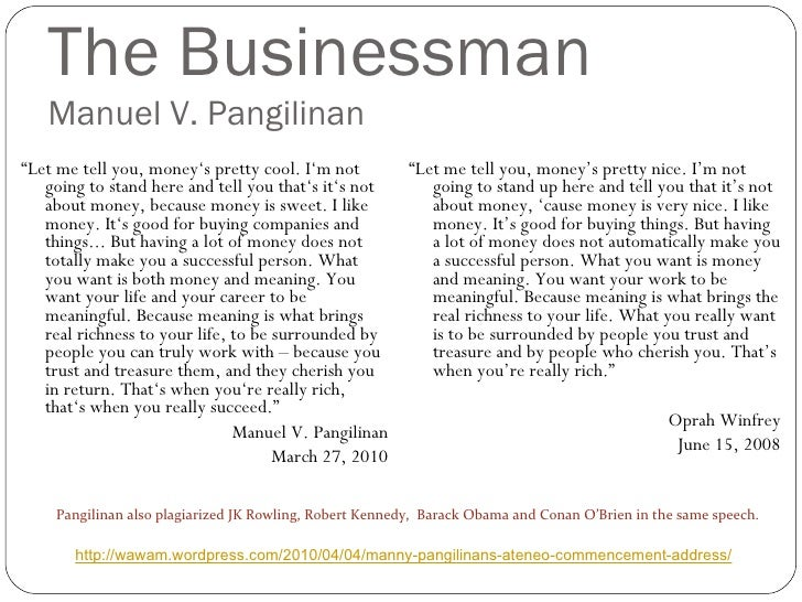 """The Businessman Manuel V. Pangilinan <ul><li>"""" Let me tell you, money's pretty cool. I'm not going to stand here and tell ..."""